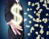 Money on hand businessman — Stock Photo
