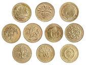 коллекция монет один фунт — Стоковое фото