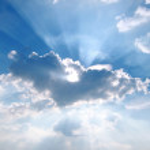 Sunbeam through the haze on blue sky — Stock Photo #12308696