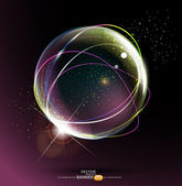 Abstract space ball on a dark background — Stock Vector