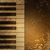 Fondo vintage con teclado de piano y notas — Vector de stock