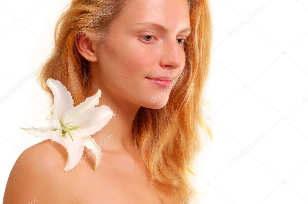 Beautiful young woman with flower isolated on white background  Stock Photo #12113572