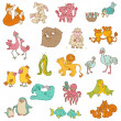 Stock Vector: Baby Animals with Moms - for your design and scrapbook - in vector