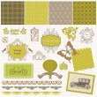 Scrapbook Design Elements - Vintage Time Set - in vector — Stock vektor