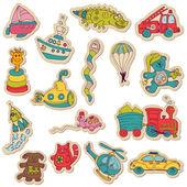 Baby speelgoed stickers - voor ontwerp en plakboek - in vector — Stockvector