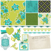 Scrapbook Design Elements - Blue Flowers in vector — Stock Vector