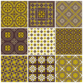 Seamless backgrounds Collection - Vintage Tile - for scrapbook — Stock Vector