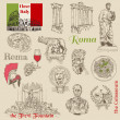 Set of Rome doodles - for design and scrapbook - hand drawn - Stock Vector