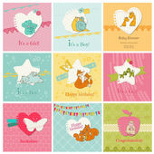 Set of Colorful Baby Cards - for arrival, birthday, congratulat — Stock Vector