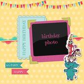 Tarjeta de cumpleaños con foto marco - para scrapbook, felicitaciones me — Vector de stock