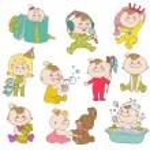 Baby Girl Cute Doodle Set - for design and scrapbook - in vector — Stock Vector #10999174