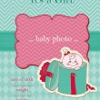 Announcement Baby Girl Card - with place for your photo and text — Stock Vector