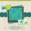 Scrapbook Design Elements - Vintage Card with Photo Frame - in v — Vettoriali Stock
