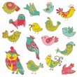 Colorful Birds Doodle Collection - hand drawn in vector - for de — Stock Vector