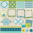 Scrapbook Design Elements - Vintage Tile with frames - in vector — Stock Vector