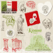 Set of Rome doodles - for design and scrapbook - hand drawn in v — Stock Vector