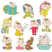 Baby Girl Cute Doodle Set - for design and scrapbook - in vector — Stock Vector