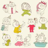 Baby Girl Cute Doodles - for design and scrapbook - in vector — Stock Vector