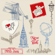 Scrapbook Design Elements - New York Doodle Set - in vector — Stock Vector #11159029