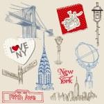 Scrapbook Design Elements - New York Doodle Set - in vector — Stock Vector