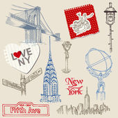 Scrapbook Design Elements - New York Doodle Set - in vector — Stock Vector