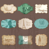 Vintage Design City Elements for Scrapbook - Old tags and frames — Vecteur