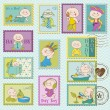 Baby Boy Postage Stamps - for design and scrapbook - in vector — Stock vektor