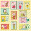 Baby Girl Postage Stamps - for scrapbook, invitation in vector — Imagens vectoriais em stock
