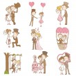 Bride and Groom - Wedding Doodle Set - Scrapbook Design Elements — ストックベクタ