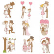 Bride and Groom - Wedding Doodle Set - Scrapbook Design Elements - Stock Vector