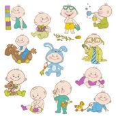 Baby Boy Doodle Set - for design, scrapbook, shower card — Stock Vector