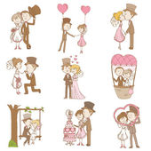 Bride and Groom - Wedding Doodle Set - Scrapbook Design Elements — Stok Vektör