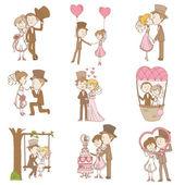 Novia y el novio - doodle conjunto - elementos de diseño del libro de recuerdos de la boda — Vector de stock