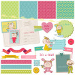Scrapbook Design Elements - Baby Girl Shower Set - in vector — Stock Vector