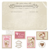 Wedding Postcard and Postage Stamps - for wedding design in vector — Stock Vector