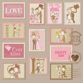 Düğün posta pulları - için tasarım ve karalama defteri - vektör — Stok Vektör