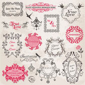 Wedding Vintage Frames and Design Elements - in vector — Stock Vector