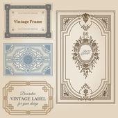 Vintage-bilder und design-elemente - mit platz für ihren text — Stockvektor