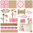 Scrapbook designelement - vintage bröllop set - i vector — Stockvektor