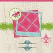 Scrapbook Design Elements - Vintage Flower Card with Photo Frame — Imagen vectorial