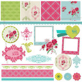 Scrapbook Design Elements - Vintage Flower Card with Photo Frame — Stock Vector