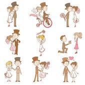 Matrimonio doodles - elementi di design - per scrapbook, invito — Vettoriale Stock