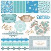 Scrapbook Design Elements - Vintage Blue Flowers - in vector — Stok Vektör