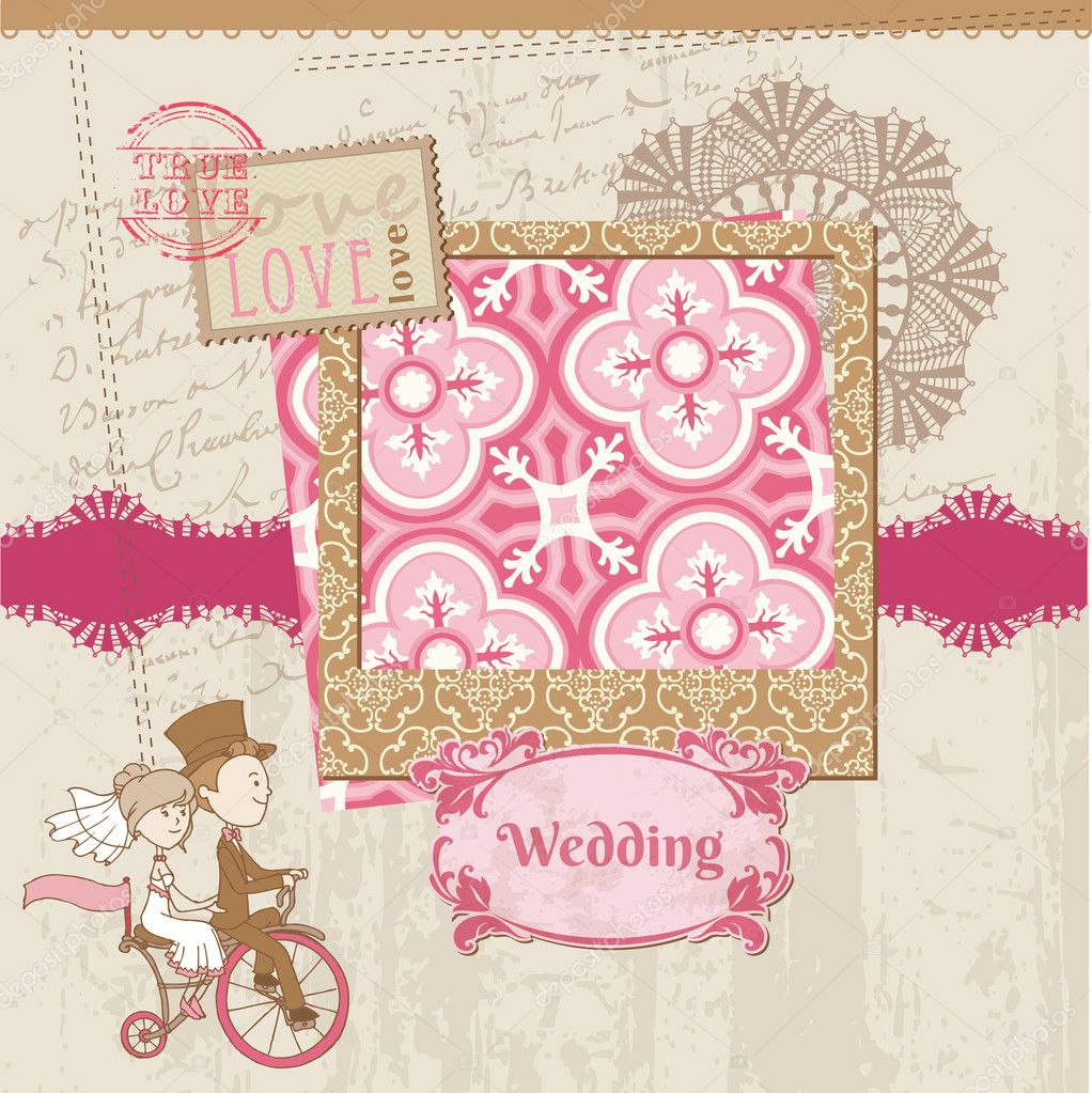 stock illustration wedding scrapbook card for wedding wedding scrapbook Wedding Scrapbook Card for wedding design invitation Stock Vector