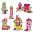 Scrapbook Design Elements - Little Houses Doodles - in vector — Stock Vector #11630491
