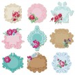 Scrapbook Design Elements - Vintage Tags and Frames with Flowers — Stock Vector #11630545