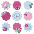 Scrapbook Design Elements - Tags with Flowers - in vector — Stock Vector