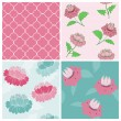Set of Seamless Vintage Floral backgrounds - for scrapbook and d — Stock Vector