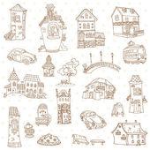 Scrapbook Design Elements - Small Town Doodles - in vector — Stock Vector