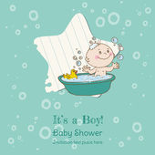 Baby Boy Shower and Arrival Card - with place for your text — Stock Vector